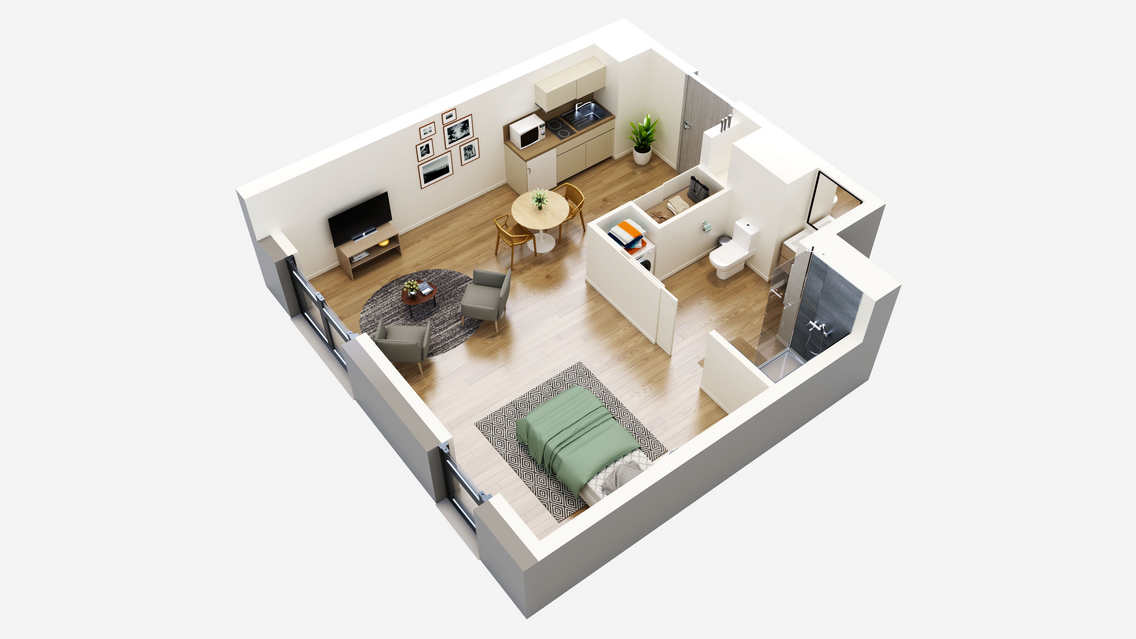 plan 3D appartement T1 colmar residence service senior oh activ