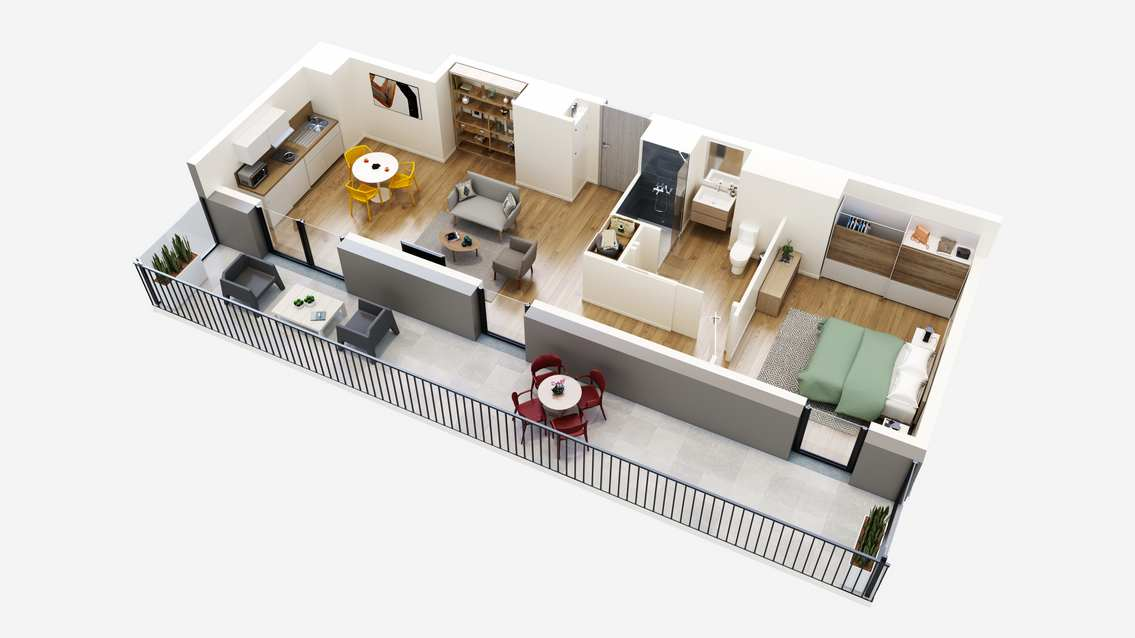 plan 3D appartement colmar T2 residence senior Oh Activ
