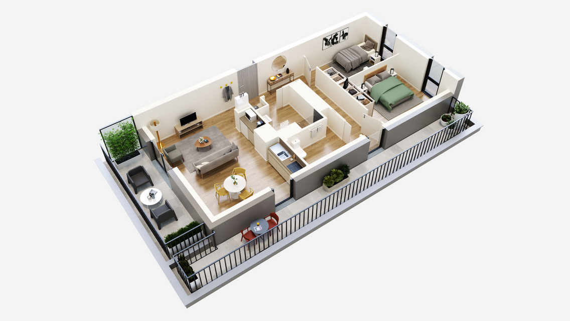 plan 3D appartement T3 residence service senior colmar oh activ