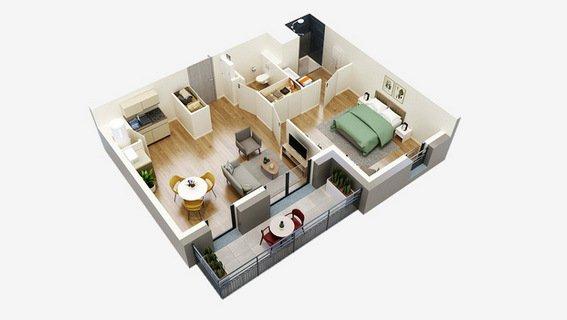 plan 3D T2 ponts de ce residences seniors oh activ