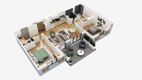 plan 3D T3 Oleron residences oh activ