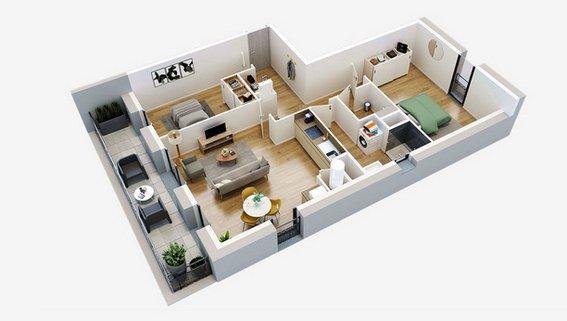 plan 3D T3 residence seniors oh activ ponts de ce